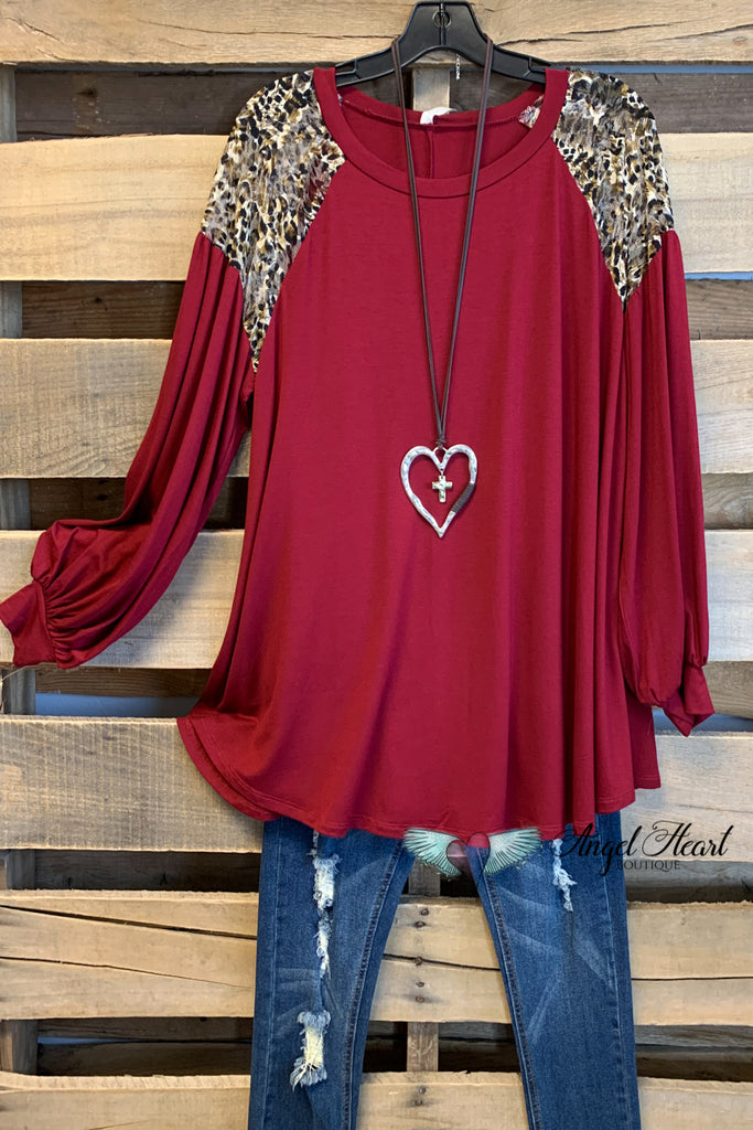 Check You Later Leopard Top - Burgundy
