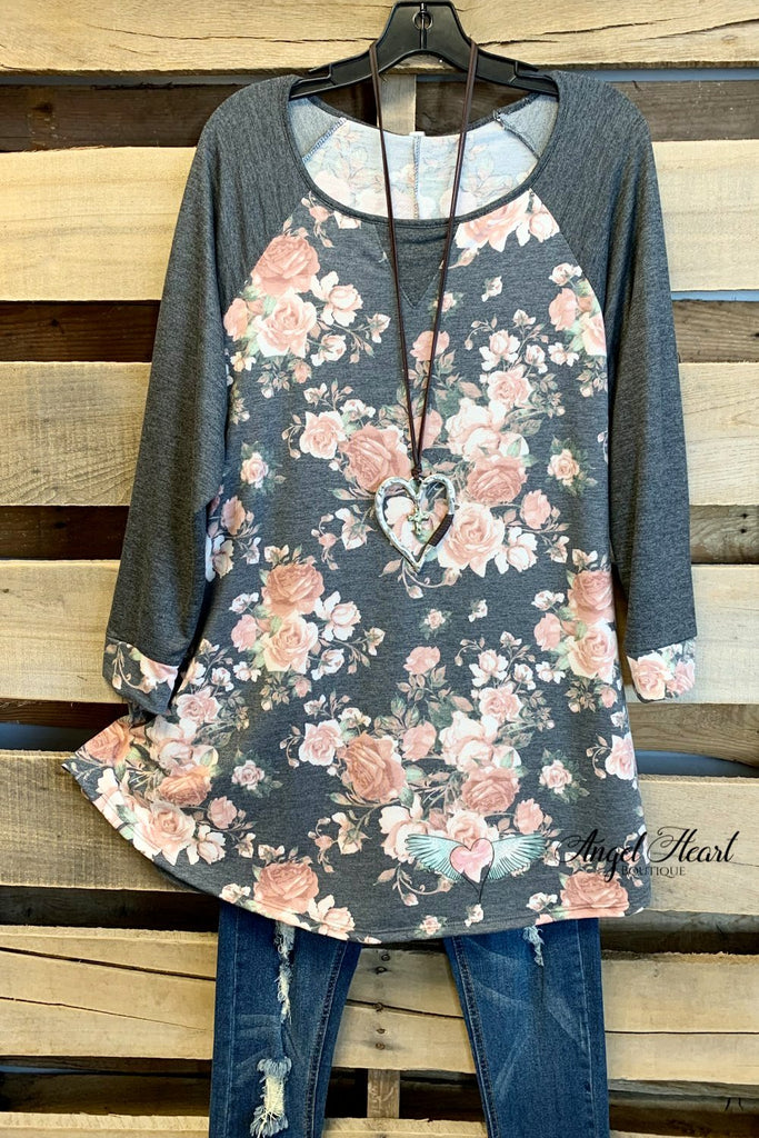 Life IS Good Top - Floral/Grey