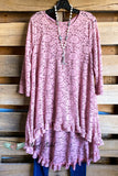 Seeing The Beauty Lace Tunic - Dusty Rose