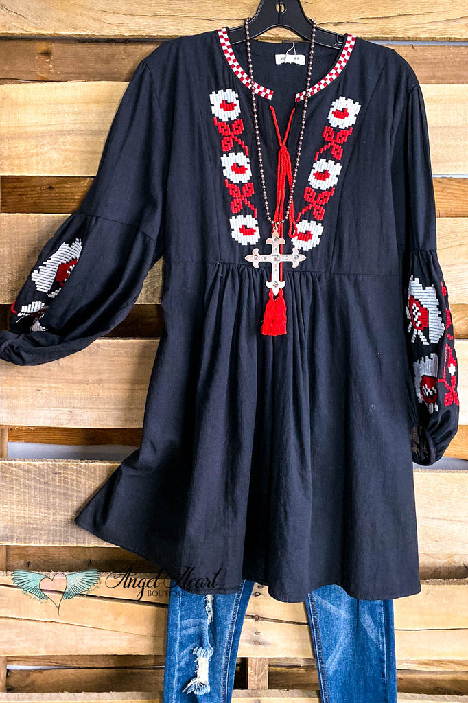 Country Checkered Dress - Black/Red - DOORBUSTER