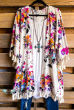 Floral Fascination Kimono - Pink Royal