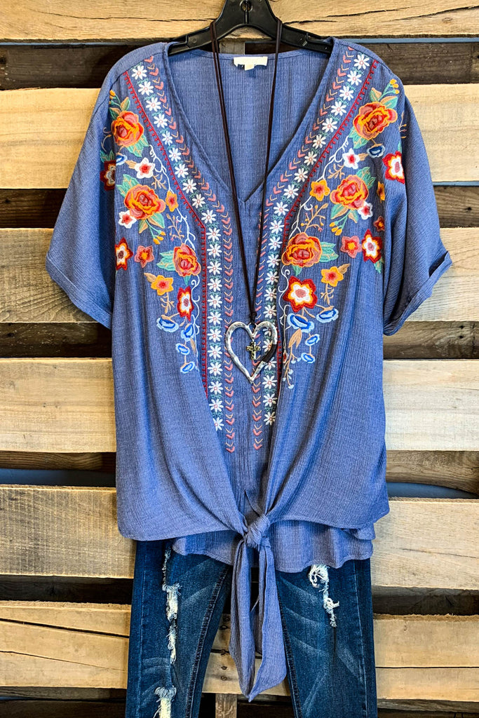 Downtown Lights Blouse - Denim Blue