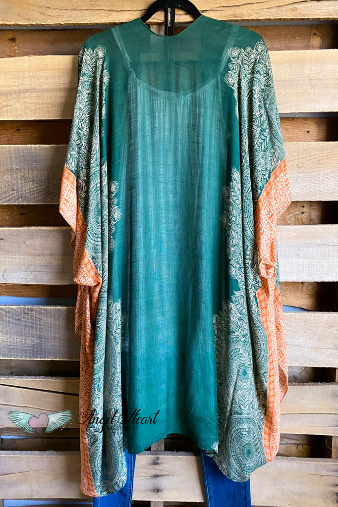Making It Easy Kimono - Olive/Rust