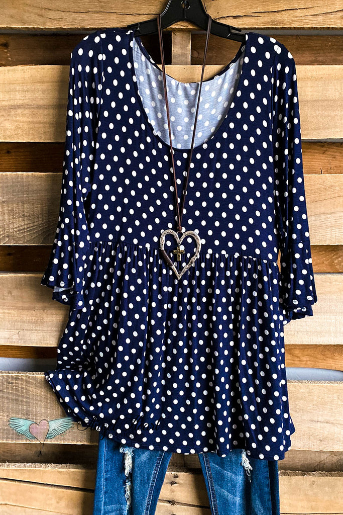 Daydreaming Dots Top - Navy - SALE (S to 3X)