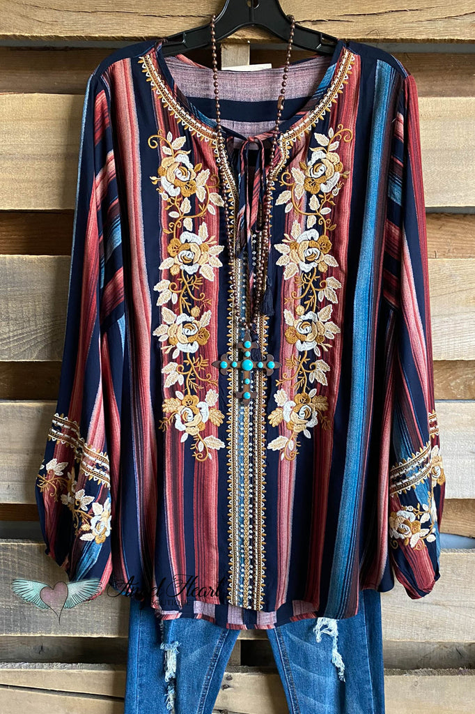 Delicate Morning Tunic - Navy/Multi