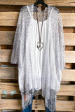 Thunder Of Summer Sheer Net Kimono - Silver - DOORBUSTER