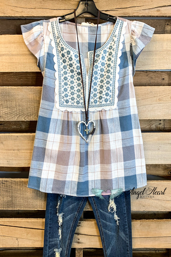 Weekend Babydoll Top - Dusty Blue