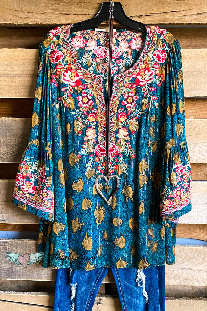 Around The World Top - Turquoise
