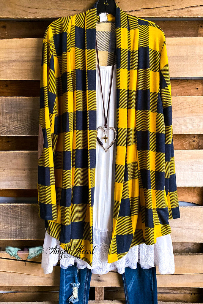 My Favorite Plaid Cardigan - Mustard