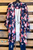 Sweet Summer Times Cardigan - Dark Navy/ Pink