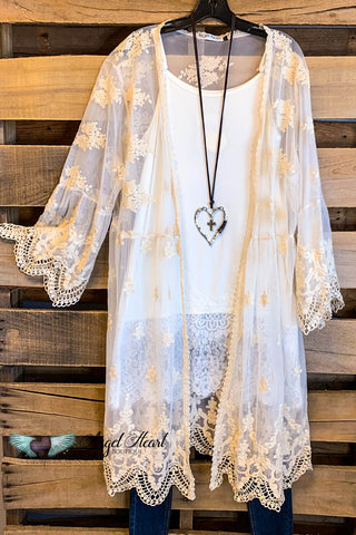 Cheerful Spirit Kimono with Fringe - Vanilla