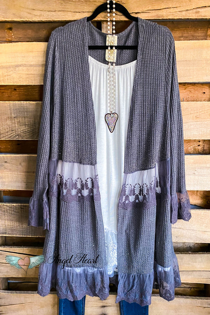 Lace & Shine Cardigan - Charcoal