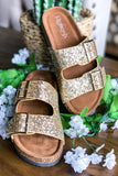Shine Bright Buckle Sandals - Champagne Gold - SALE