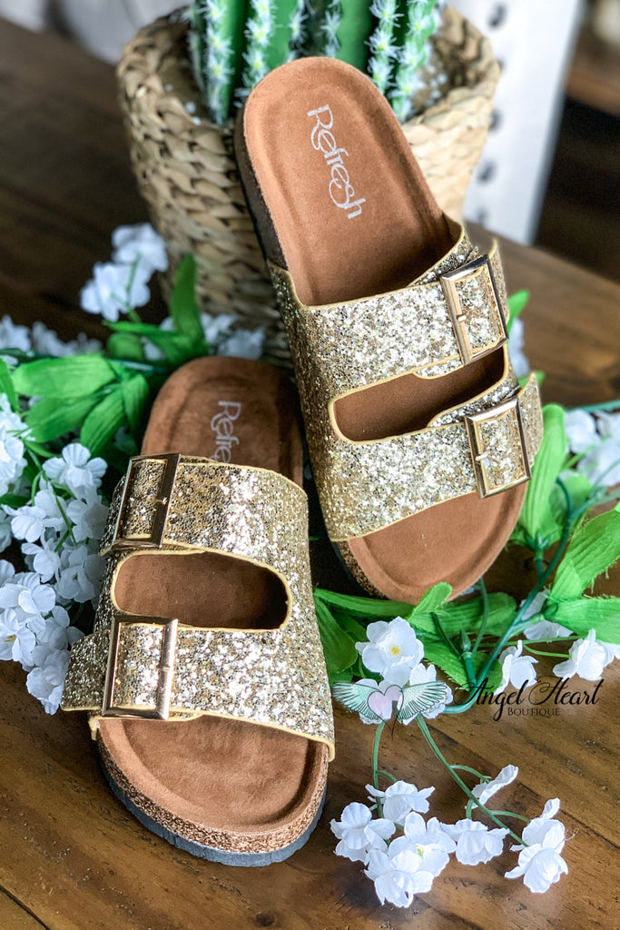 Shine Bright Buckle Sandals - Champagne Gold