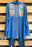 Friends and Flowers Tunic - Denim