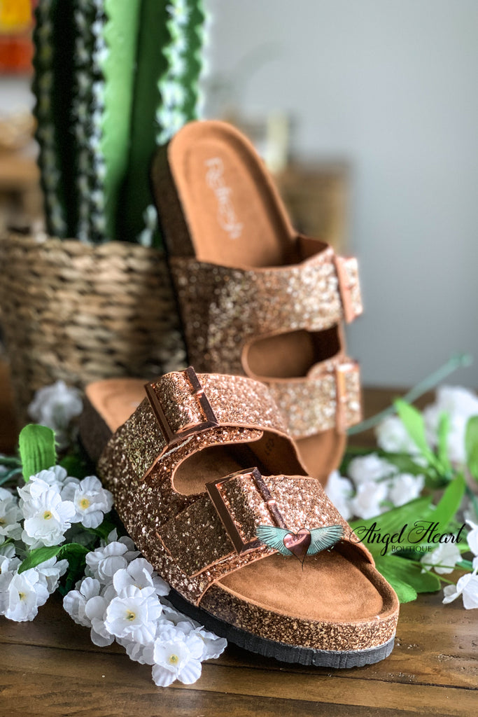 Shine Bright Buckle Sandals - Rose Gold