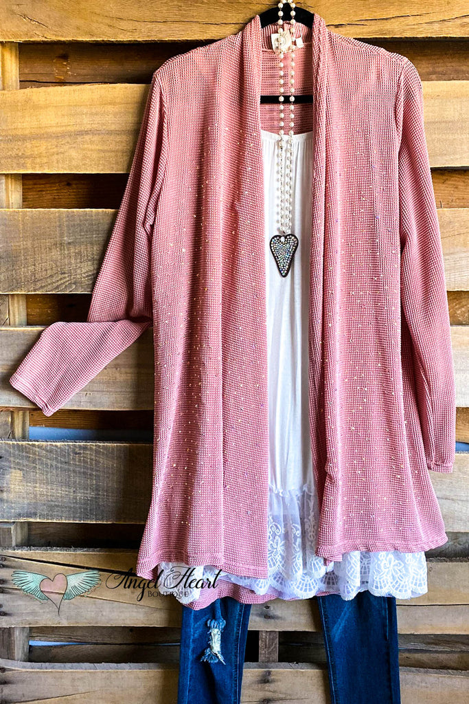 Give Me A Hint Cardigan - Dusty Rose