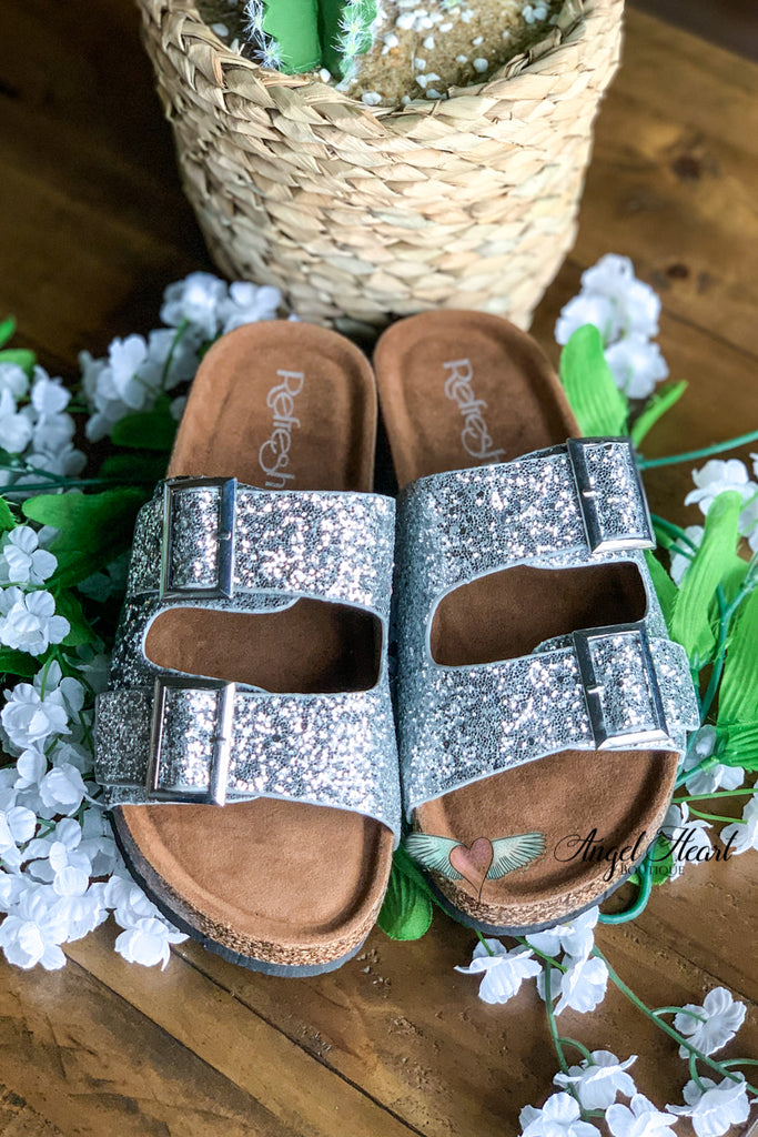Shine Bright Buckle Sandals - Silver - SALE