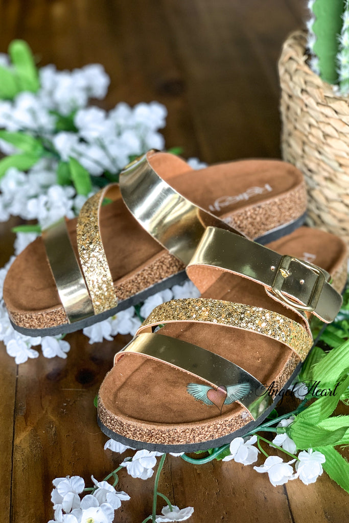 Shine Bright Strap Sandals - Champagne Gold - SALE