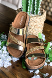 Shine Bright Strap Sandals - Champagne Gold