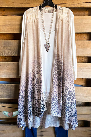 Denim Lace Vest -  Mauve