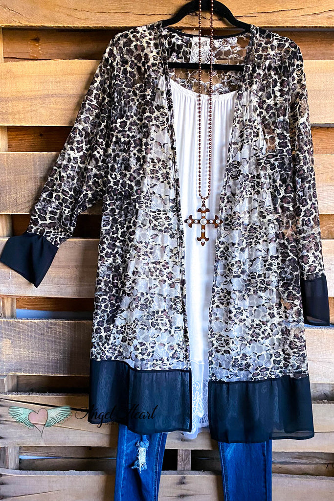 Leopard Rose Lace Cardigan - Brown