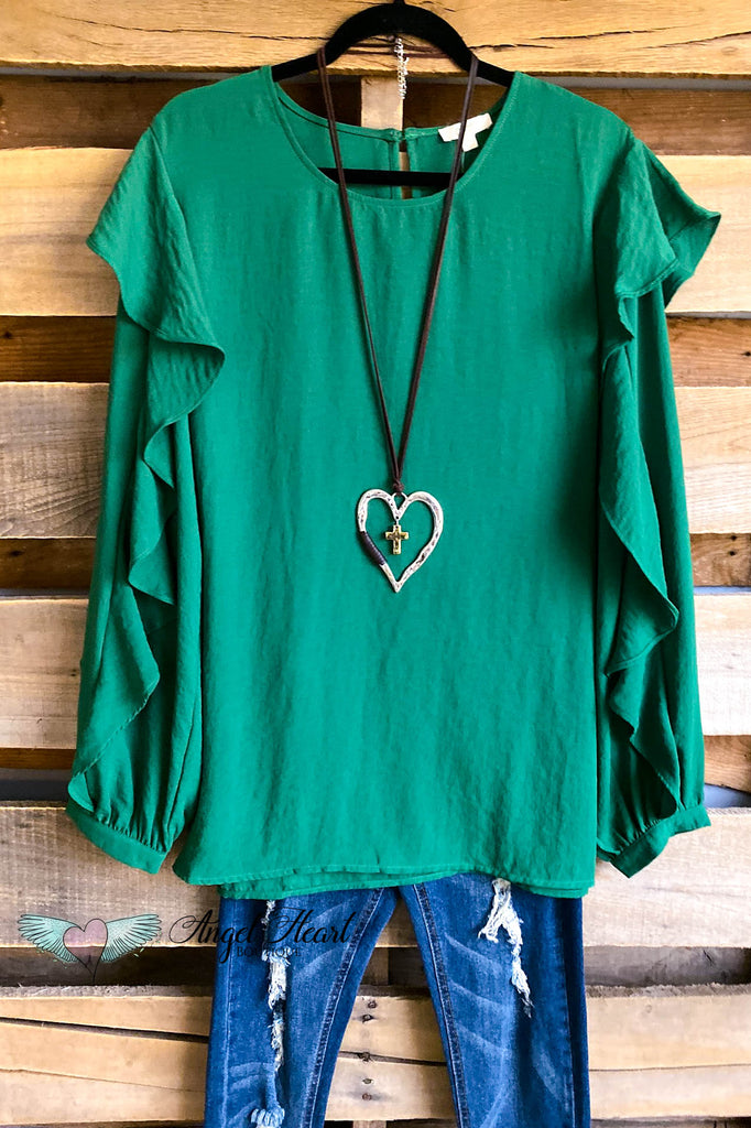 Cheerful Days Blouse - Antique Green - SALE
