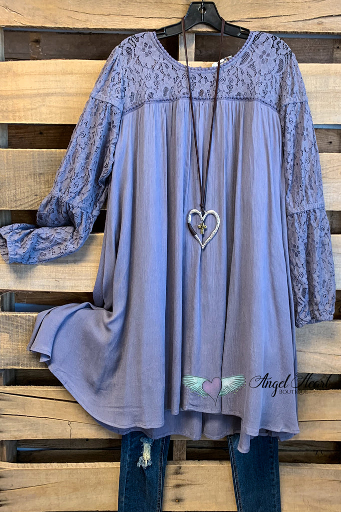 Don't Wait For Love Tunic - Slate
