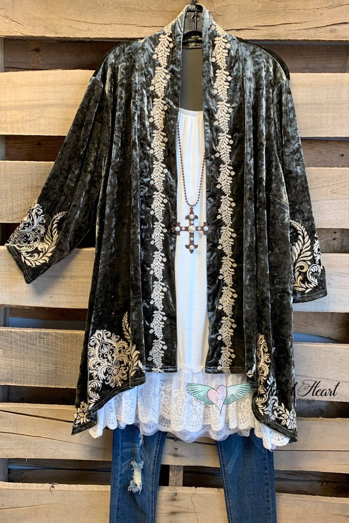 AHB EXCLUSIVE: Crushed Velvet Embroidered Cardigan - Olive - SALE