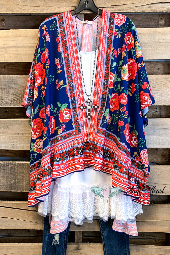 Tell Your Story Kimono - Blue - SALE