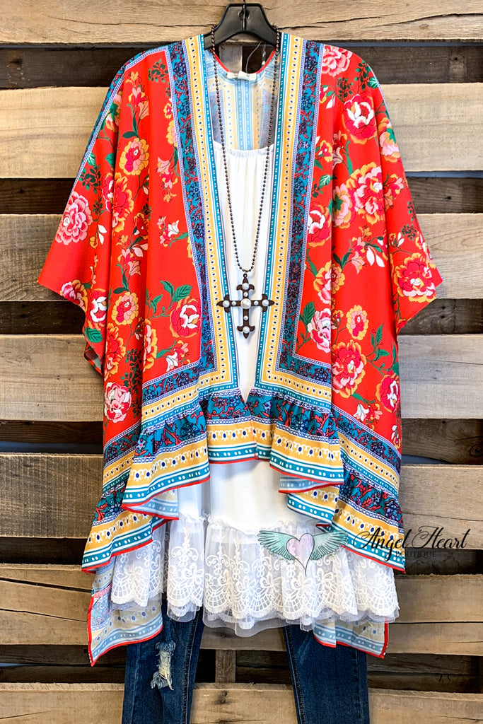 Tell Your Story Kimono - Coral - SALE