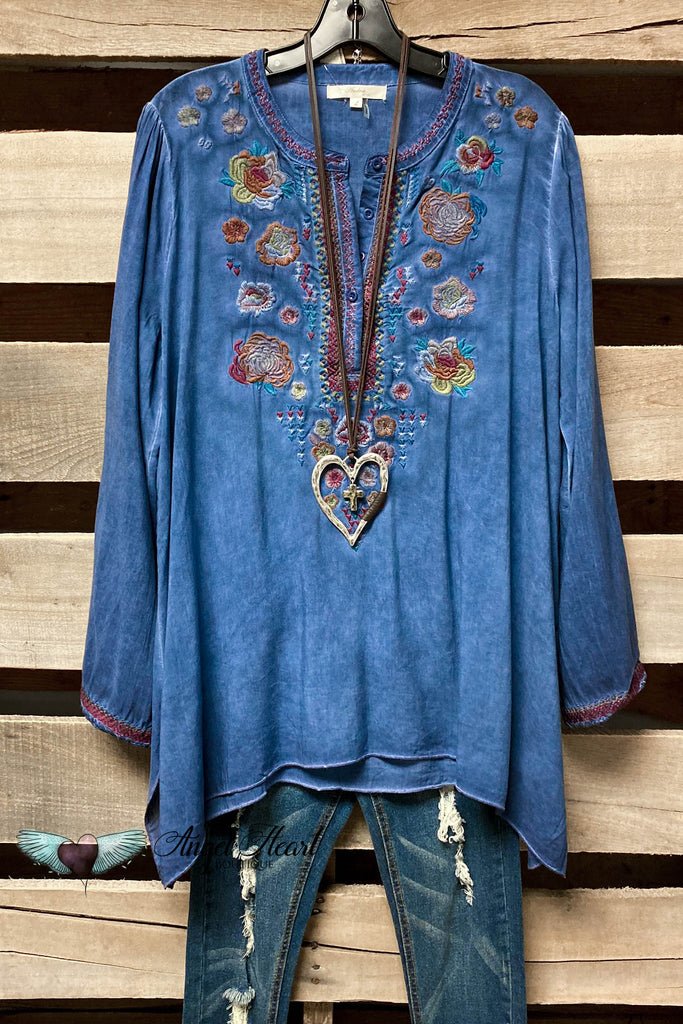 Faded Denim Embroidery Top SALE(Small to XL)