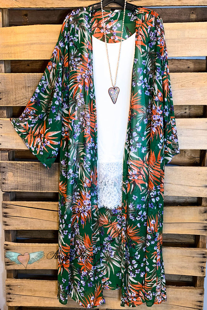 Dreamy Celebration Long Duster Kimono - Green