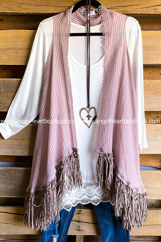 AHB EXCLUSIVE: If I Could Fringe Vest - Mauve -100% COTTON