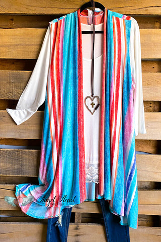 Bring On The Party Poncho - Mocha/Teal -  SALE