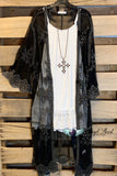 Long Lace Duster With Pearls - Black