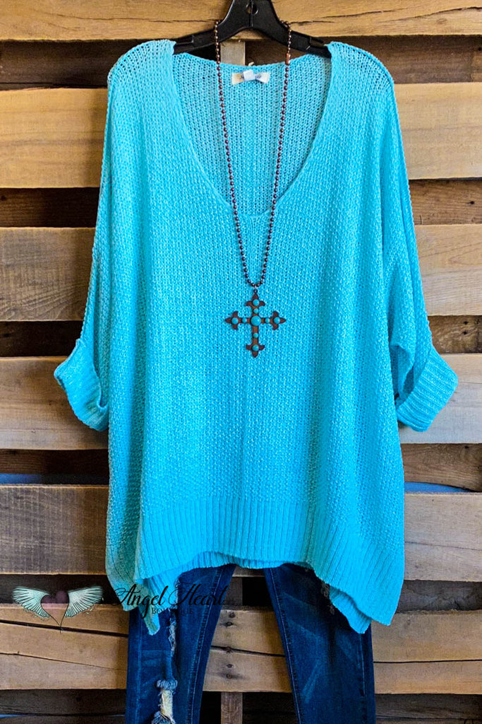 Spring Escape Sweater Knit Top - Aqua