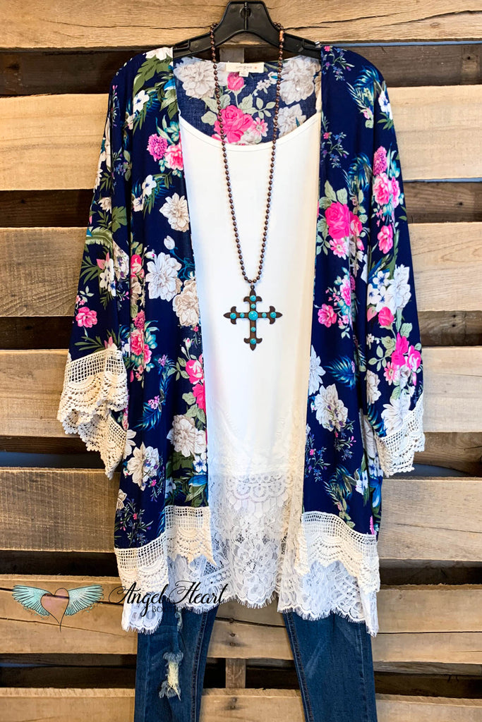 Made To Perfection Kimono - Navy - SALE