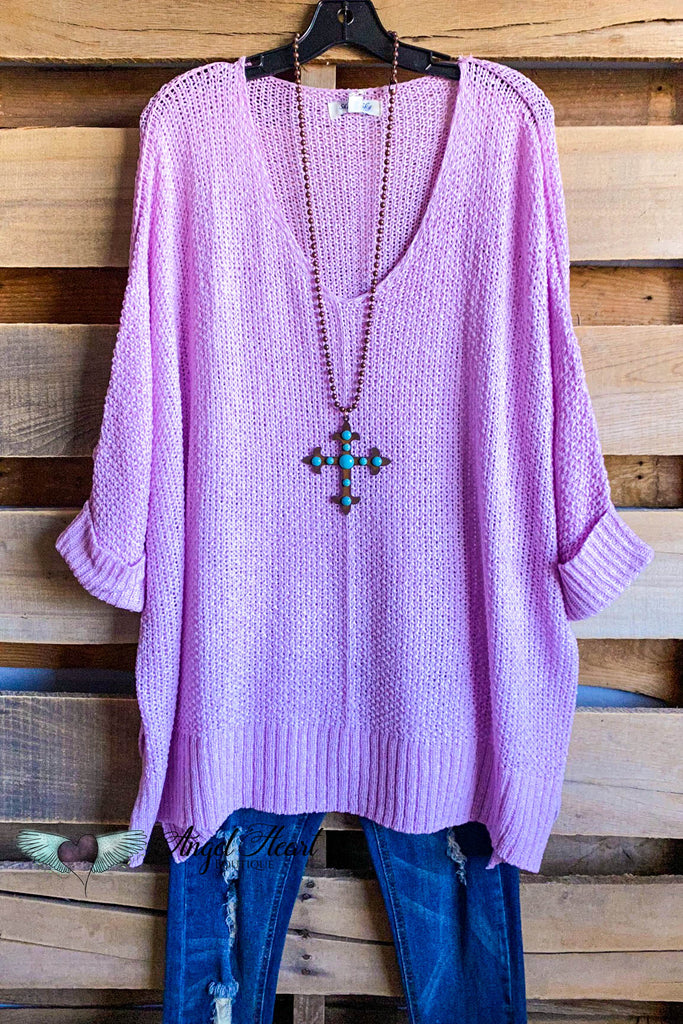 Spring Escape Sweater Knit Top - Lilac Pink