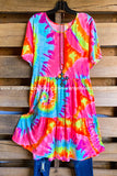 Bold and Bright Tiered Dress -Dk Pink/Yellow - SALE