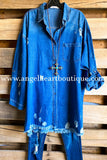 Frayed Beauty Denim Tunic - Blue - 100% COTTON