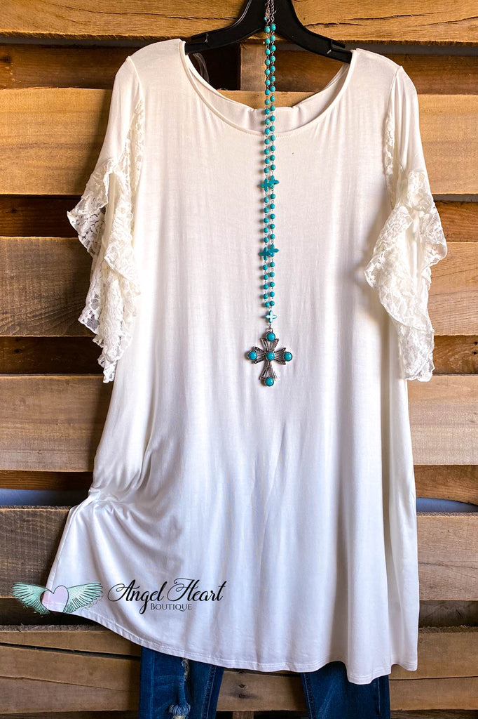 Lace Away Tunic/Dress - Off White - SALE