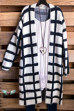 Perfect Touch Fuzzy Cardigan - Black/White
