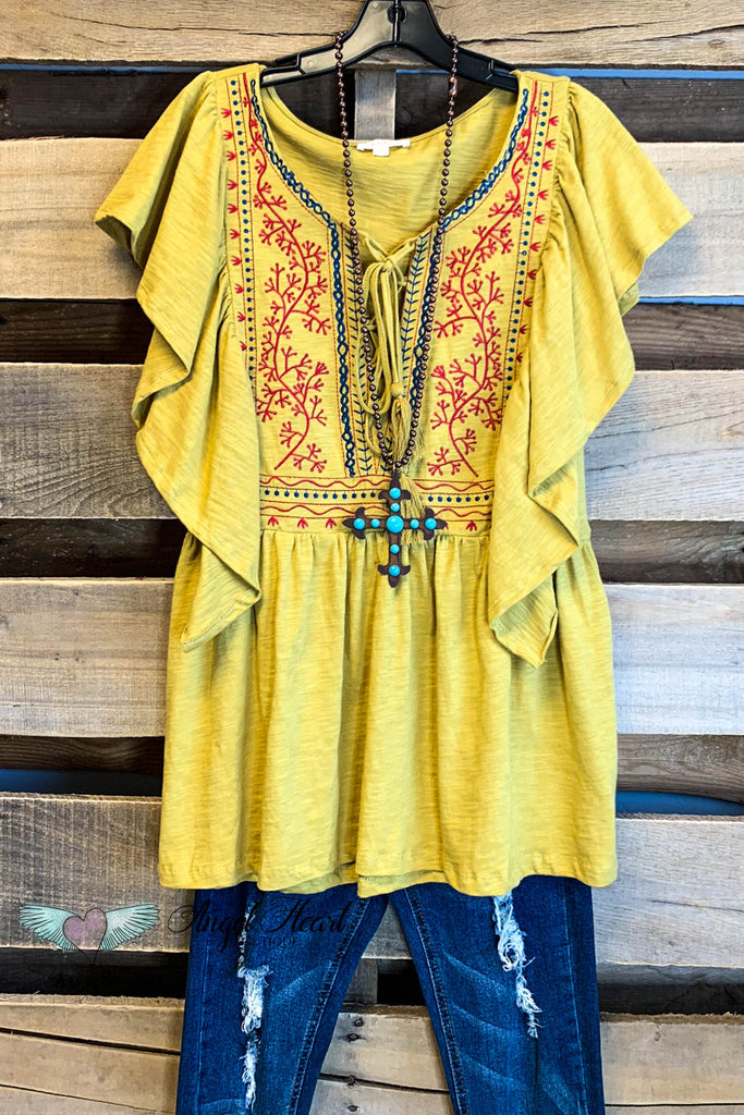 Playful Heart Top - Mustard
