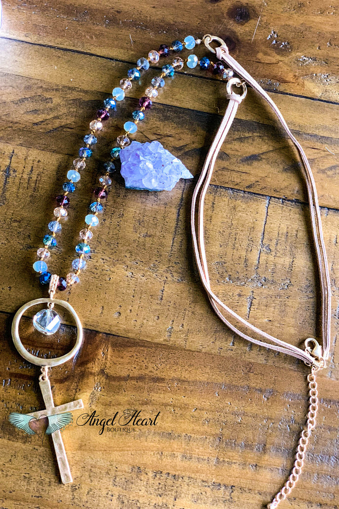 Moon Child Crystal and Leather Necklace - Multi