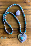 Beneath The Moonlight Heart Necklace - Turquoise