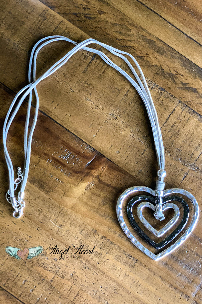 Sweet Memories Statement Necklace - Heart Pendant