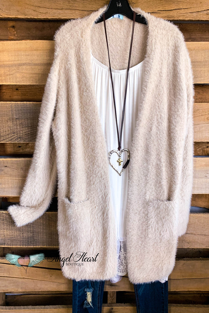 Warms My Heart Cardigan  - Beige - SALE