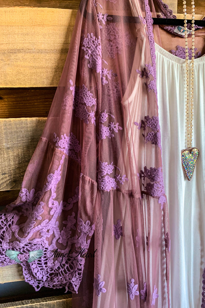 AHB EXCLUSIVE: From a Dream Lace Long Duster Crochet - Eggplant