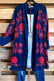 AHB EXCLUSIVE: Get To Know Me Cardigan - Navy/Coral